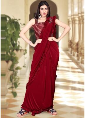 Pristine Maroon Trendy Saree