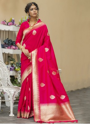 Pristine Pink Weaving Banarasi Silk Designer Traditional Saree