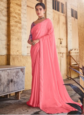 Pristine Swarovski Pink Classic Saree