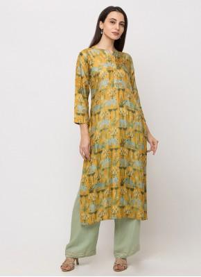 Pristine Yellow Digital Print Silk Casual Kurti