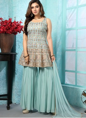 Prodigious Embroidered Chiffon Designer Ready made Palazzo Dress for Engagement