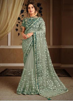 Prodigious Embroidered Net Designer Saree