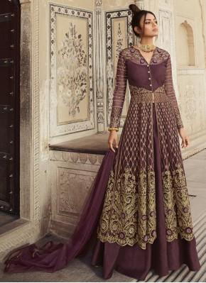 Prodigious Embroidered Purple Designer Long Lehenga Choli