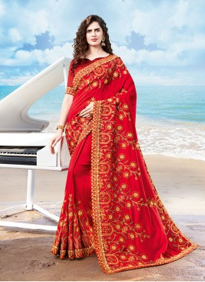 Prodigious Embroidered Traditional Designer Saree