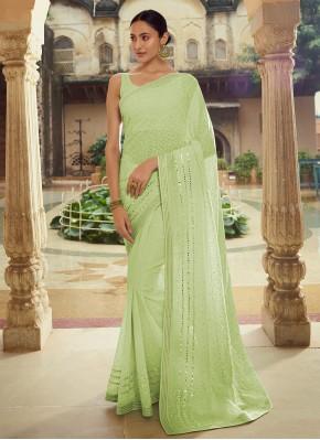 Prodigious Green Georgette Classic Designer Saree