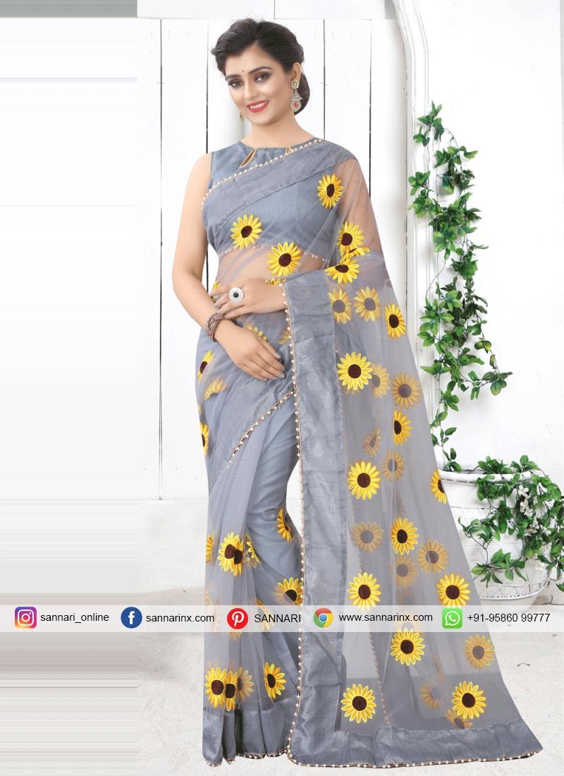 Prodigious Grey Printed Saree