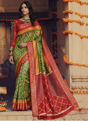 Prodigious Multi Colour Printed Silk Classic Saree