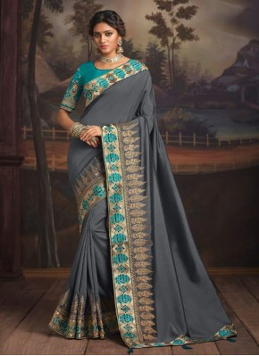 Prodigious Patch Border Silk Grey Traditional Designer Saree