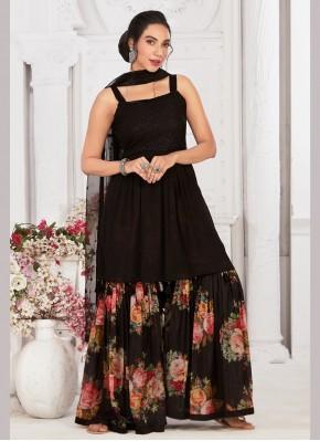 Prodigious Print Chiffon Satin Designer Ready made Palazzo Dress
