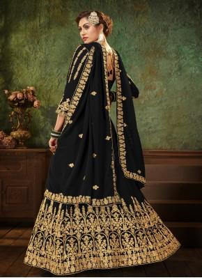 Prominent Black Faux Georgette Floor Length Anarkali Suit