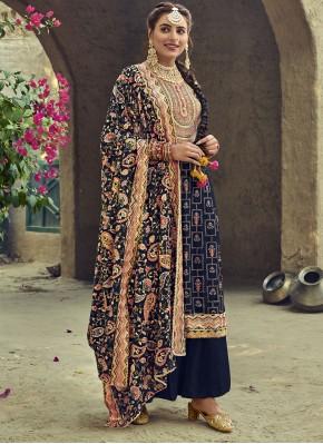 Prominent Blue Resham Faux Georgette Designer Palazzo Salwar Kameez