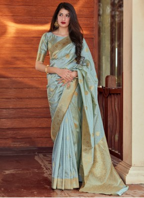 Prominent Grey Sangeet Designer Traditional Saree