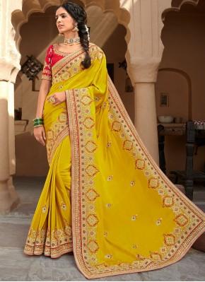 Prominent Patch Border Silk Yellow Designer Saree