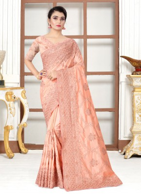 Prominent Peach Embroidered Designer Traditional Saree