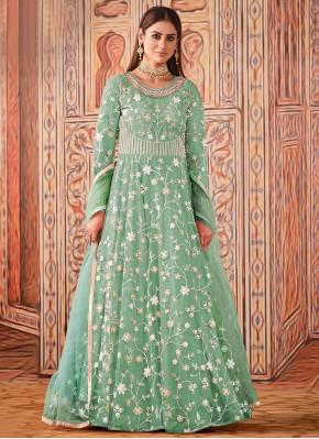 Prominent Sea Green Net Floor Length Designer Suit