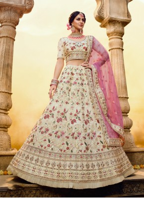Prominent Thread Off White Trendy Lehenga Choli