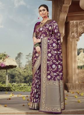Purple Banarasi Silk Weaving Traditional Designer Saree