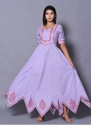 Purple Block Print Cotton Designer Gown