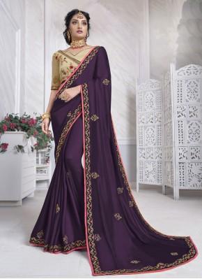 Purple Ceremonial Silk Designer Saree