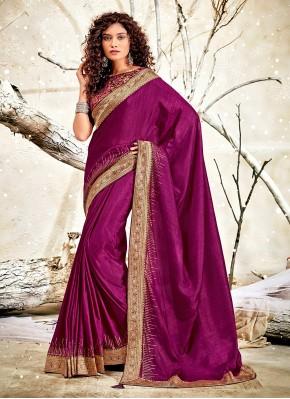 Purple Chanderi Patch Border Designer Traditional Saree