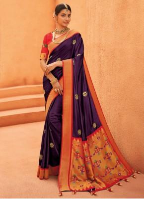 Purple Color Designer Saree