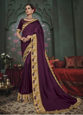 Purple Embroidered Fancy Fabric Classic Saree