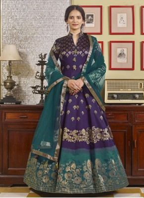 Purple Embroidered Festival Readymade Anarkali Suit