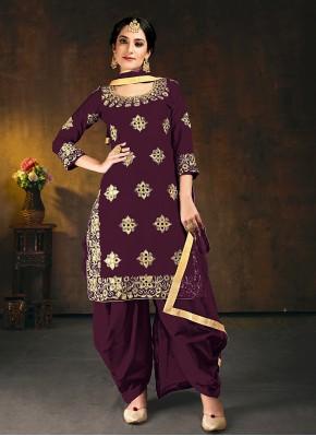 Purple Embroidered Silk Designer Patiala Suit