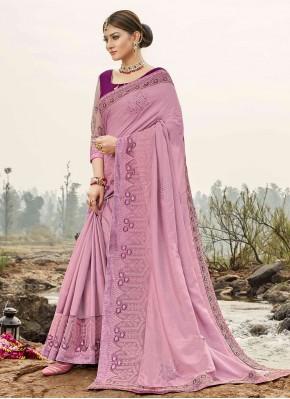 Purple Embroidered Silk Trendy Saree