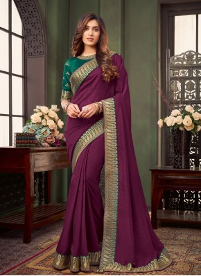 Purple Fancy Fabric Trendy Saree