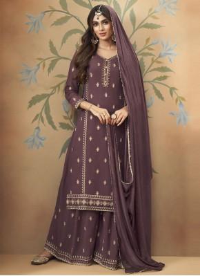 Purple Faux Georgette Designer Palazzo Suit