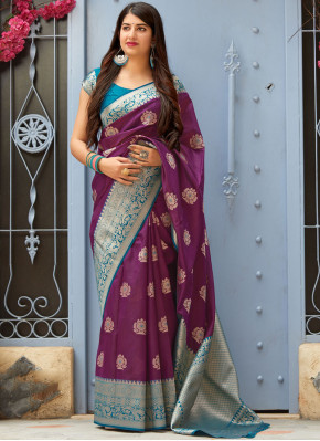 Purple Festival Art Silk Designer Traditional Saree