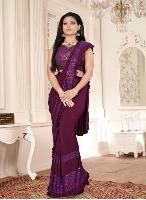 Purple Festival Lycra Classic Designer Saree