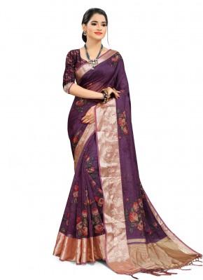 Purple Organza Printed Saree