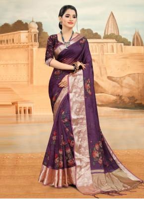 Purple Printed Printed Saree