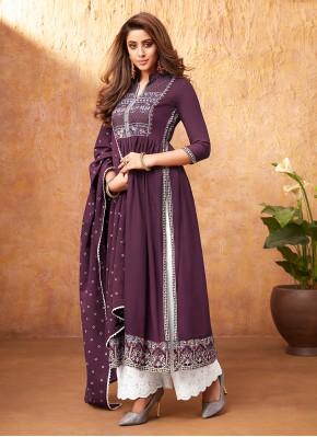 Purple Rayon Festival Readymade Suit