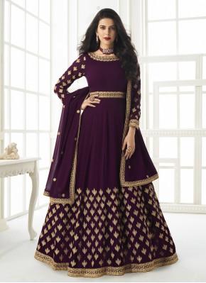 Purple Resham Faux Georgette Floor Length Anarkali Suit