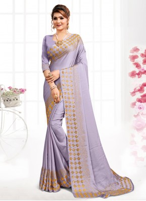 Purple Satin Designer Saree