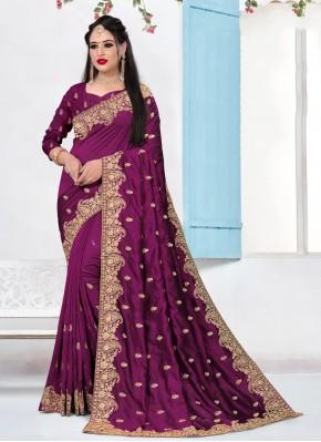 Purple Silk Contemporary Saree