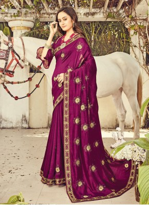 Purple Silk Embroidered Designer Traditional Saree