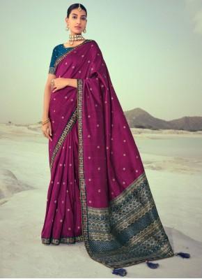 Purple Silk Party Traditional Saree