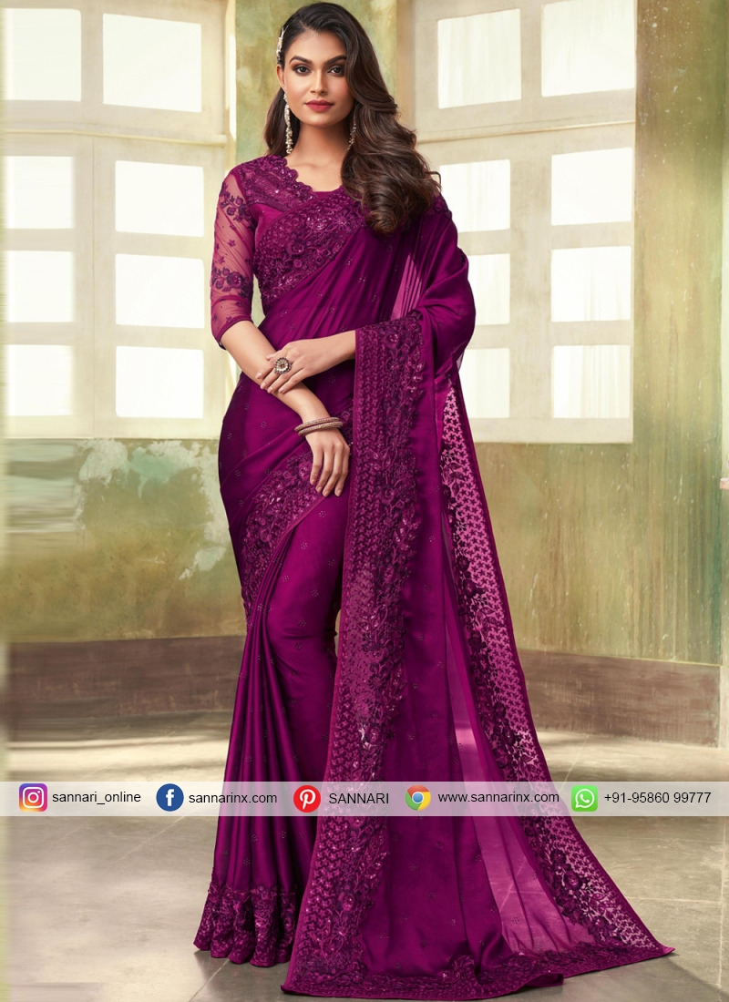 Purple Silk Reception Contemporary Saree