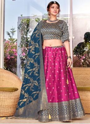Purple Weaving Silk Trendy Lehenga Choli