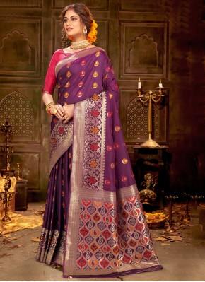 Purple Weaving Trendy Saree