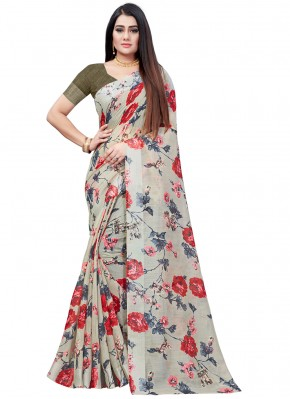Radiant Abstract Print Cotton Multi Colour Printed Saree