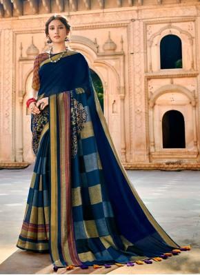 Radiant Blue Print Cotton Traditional Saree
