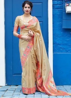Radiant Cream Weaving Silk Saree