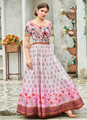 Radiant Digital Print Multi Colour Silk Trendy Gown