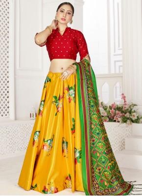 Radiant Digital Print Satin Yellow Readymade Lehenga Choli