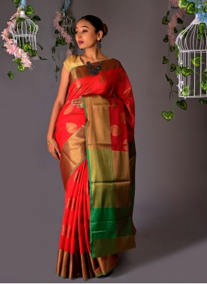 Radiant Fancy Red Classic Saree